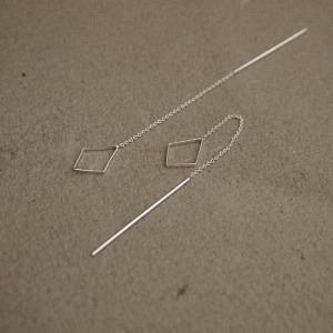 OPALIA | Rhombus Chain - Earring - Silver