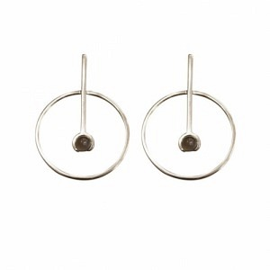 """Atmos"" Source Grey Moonstone - Stud Earring - Silver"