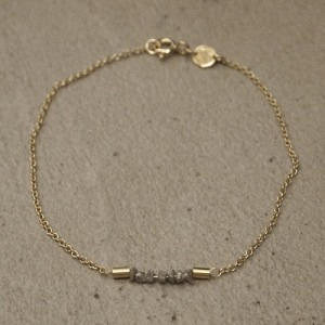 """Rocks"" Grey Rough Diamond - Bracelet - Gold"