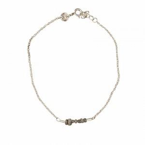 """Rocks"" Grey Rough Diamond - Bracelet - Silver"