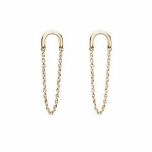 ELONGATED | Chaining - Stud Earring - Gold