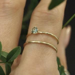 """Solitaire"" Green Sapphire (S) - Ring - 18 Karat Gold"