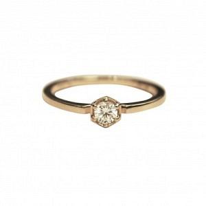 CLEOMETRA | Hexagon Diamond White - Ring - 18 Karat Gold