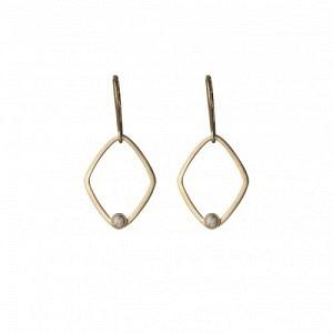 """Petit Point"" Howlith Rhombus - Brisur Earring - Gold"