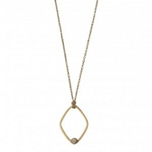 """""""Petit Point"""" Howlith Rhombus - Necklace - Gold"""