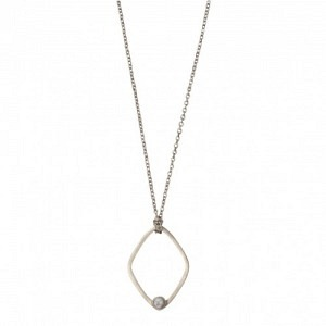 """""""Petit Point"""" Howlith Rhombus - Necklace - Silver"""