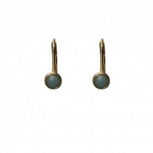 """Petit Point"" Amazonite - Brisur Earring - Gold"