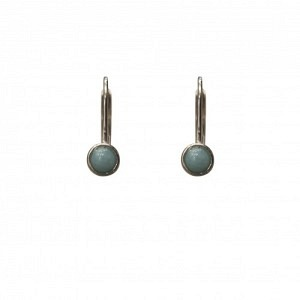 """Petit Point"" Amazonite - Brisur Earring - Silver"