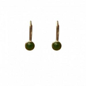 """Petit Point"" Green Jade - Brisur Earring - Gold"