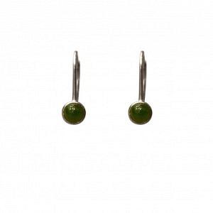 """""""Petit Point"""" Green Jade - Brisur Earring - Silver"""