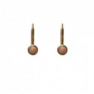 """Petit Point"" Pink Opal - Brisur Earring - Gold"