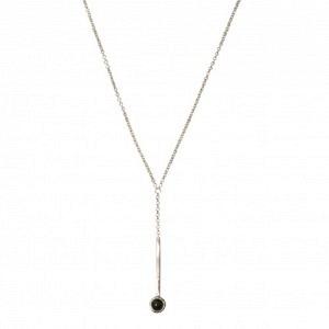 """Petit Point"" Onyx Sputnik I - Y-Necklace - Silver"