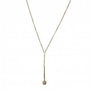 """Petit Point"" Pink Opal Sputnik I - Y-Necklace - Gold"