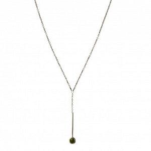 """Petit Point"" Green Jade Sputnik I - Y-Necklace - Silver"