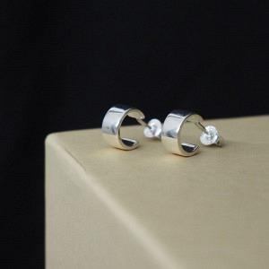 STRIPES&JOIST | Wide Creole - Stud Earring - Silver