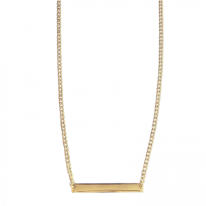 CURB | Plaque Slim Long - Necklace - Gold