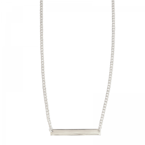 CURB | Plaque Slim Long - Necklace - Silver