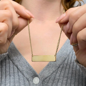 CURB | Plaque Wide Long - Necklace - Gold