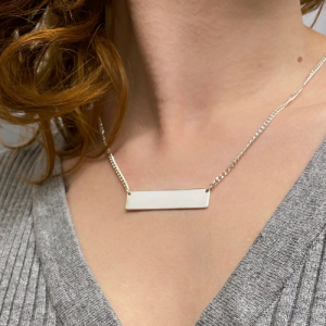 CURB | Plaque Wide Long - Necklace - Silver